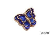 10.5×12.5mm Butterfly-shaped Silver Accessory with Cloisonne Decoration