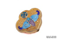 16x19mm Silver Accessory with Cloisonne Decoration