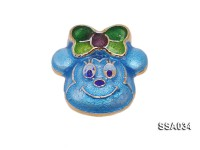17.5×18.5mm Mickey Mouse-Style Silver Accessory with Cloisonne Decoration