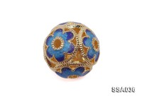 12mm Ball-shaped Silver Accessory with Cloisonne Decoration