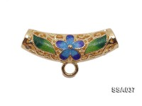 7.5x23mm Pipe-shaped Silver Accessory with Cloisonne Decoration