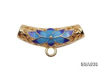 7.5x23mm Tubulous Silver Accessory with Cloisonne Decoration