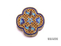 22x22mm Flower-shaped Silver Accessory with Cloisonne Decoration
