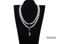 9.5mm Round Jadefied Tridacna Beads Necklace