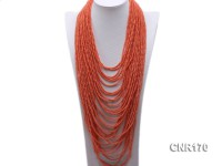 Thirty-strand 4mm Orange Round Coral Necklace