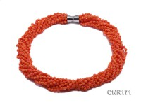 5.5mm Ten-strand Orange Round Coral Necklace