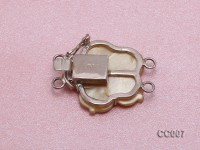 25mm Double-row Seashell Flower Clasp with Sterling Silver
