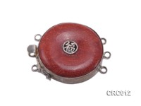 35mm Three-Row Silver-rimmed Coral Clasp