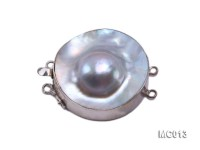 30mm Double-row Silver-rimmed Mabe Pearl Clasp