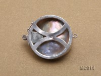 30mm Single-row Silver-rimmed Mabe Pearl Clasp
