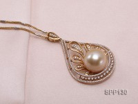 16mm Golden South Sea Pearl Pendant Dotted with Diamonds