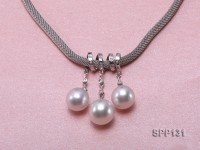 11-12.5mm White South Sea Pearl Pendant with 925 Sterling Silver and Zircon