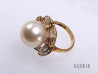 15mm Shiny Golden South Sea Pearl Ring