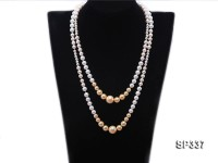 Classy 5-14mm White and Golden South Sea Shell Pearl Necklace