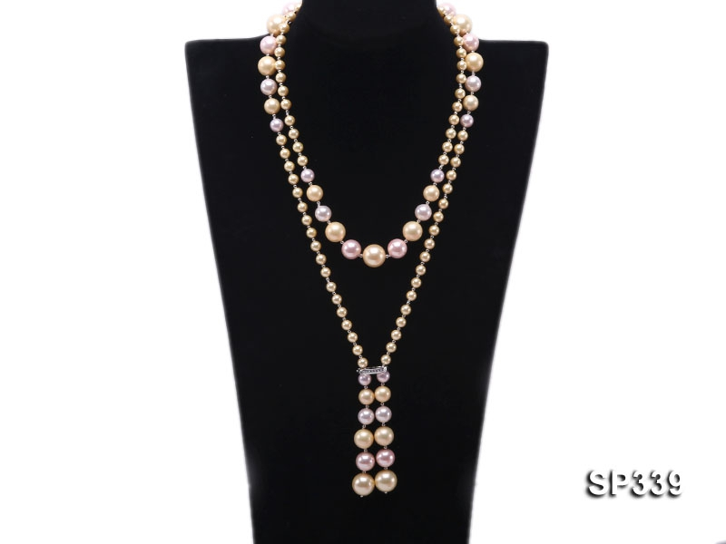 Classy 6-14mm Multi-color South Sea Shell Pearl Necklace