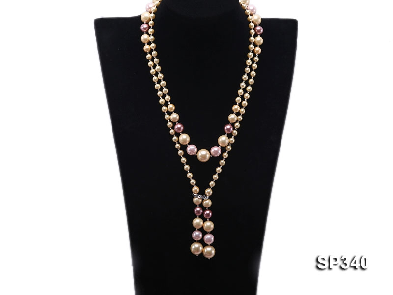Classy 6-14mm Multi-color South Sea Shell Pearl Necklace