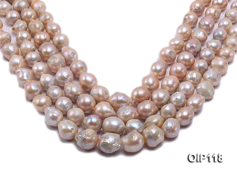 12.5-16.5mm Pink Irregular Pearl String