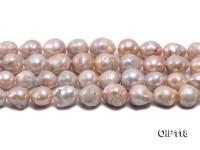 12.5-16.5mm Pink Irregular Pearl String