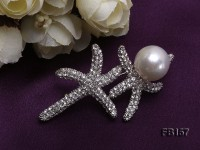 Starfish-like 13.5mm White Round Edison Pearl Brooch