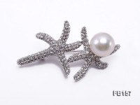 Starfish-like 13.5mm White Round Edison Pearl Brooch