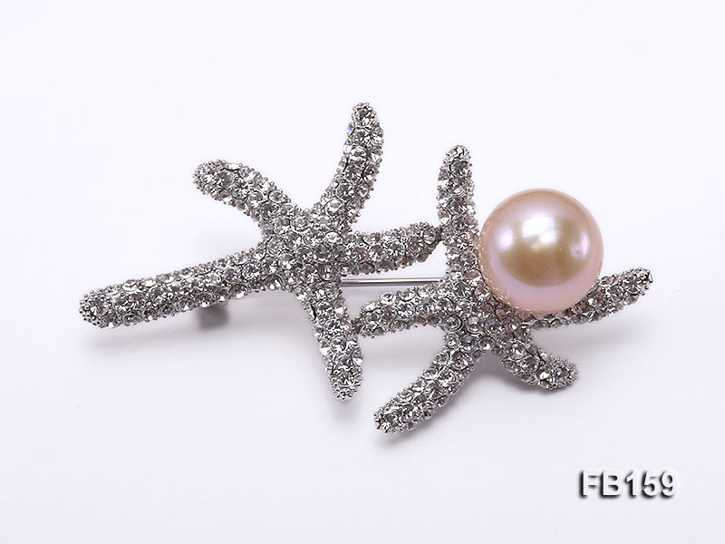 Starfish-like 12.5mm Pink Near Round Freshwater Pearl Brooch
