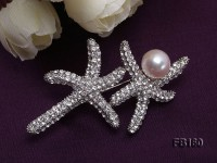 Starfish-like 9.5mm White Round Freshwater Pearl Brooch