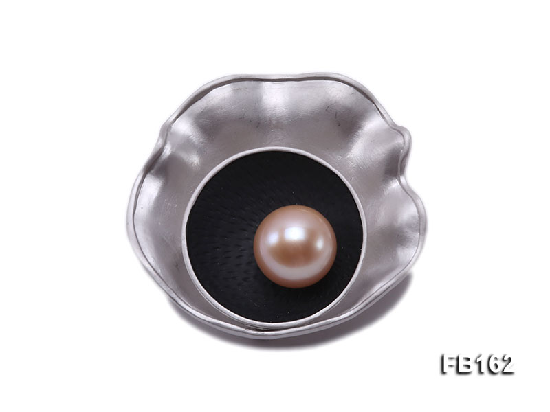 12.5mm Pink Round Freshwater Pearl Brooch