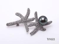Classy Starfish-like 11.5mm Black Tahitian Pearl Brooch