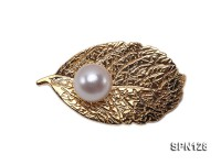 9mm White Round Akoya Pearl Brooch