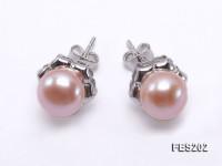 8-9mm Pink Flat Cultured Freshwater Pearl Earrings