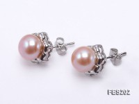 8-9mm Pink Flat Cultured Freshwater Pearl Earrings