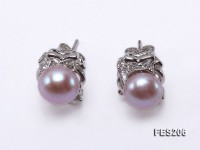7mm Lavender Flat Freshwater Pearl Earrings