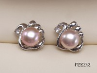 8mm Lavender Flat Freshwater Pearl Earrings