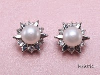 9mm White Flat Cultured Freshwater Pearl Clip-on Earrings