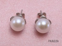 9mm White Flat Freshwater Pearl Earrings
