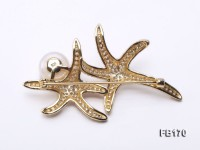 Starfish-like 12mm White Near Round Freshwater Pearl Brooch