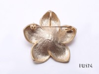Flower-shaped 13mm Pink Near Round Freshwater Pearl Brooch