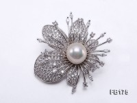 Flower-style 13.5mm White Round Edison Pearl Brooch