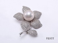 Flower-style 15mm White Round Edison Pearl Brooch