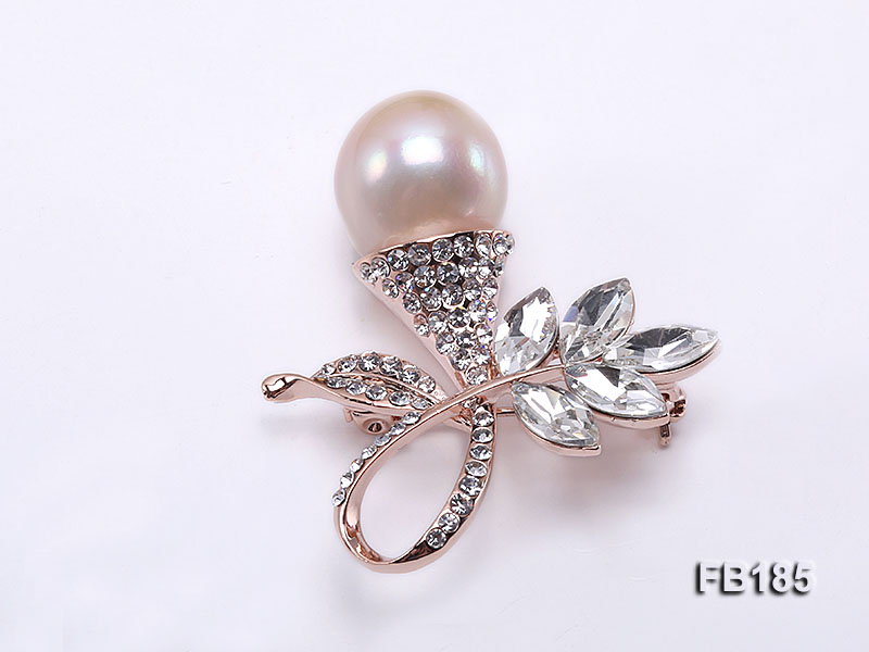 15mm Pink Round Edison Pearl Brooch
