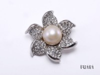 Flower-like 14.5mm White Round Edison Pearl Brooch