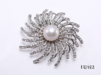 13mm White Round Edison Pearl Brooch