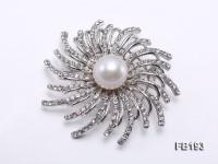 13mm White Round Edison Pearl Brooch