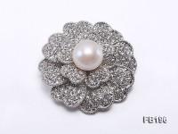 12.5mm White Round Edison Pearl Brooch