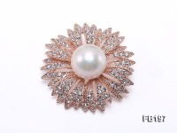 Flower-style 14mm White Round Edison Pearl Brooch