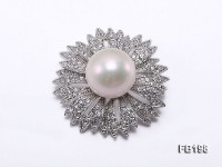 Flower-style 16mm White Round Edison Pearl Brooch