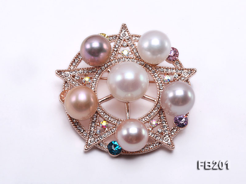 10-12.5mm Multi-color Freshwater Pearl Brooch