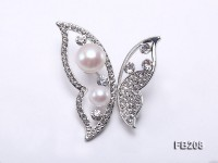 8.5-12mm White Near Round Freshwater Pearl Brooch