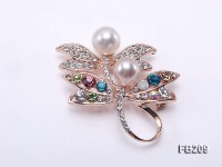 9.5-10.5mm White and Lavender Near Round Freshwater Pearl Brooch