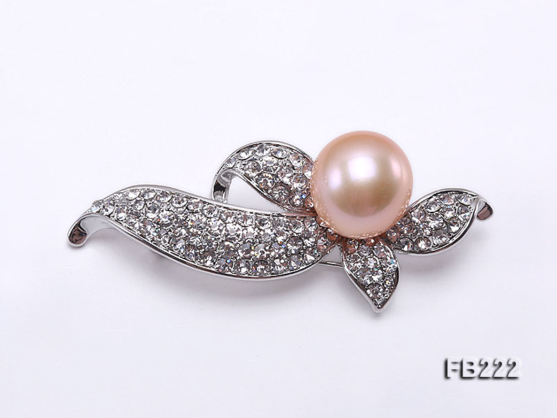 14mm Pink Near Round Freshwater Pearl Brooch